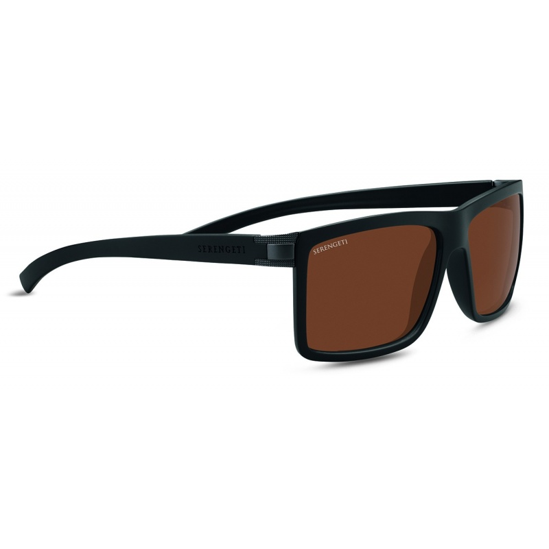 Serengeti Brera Large 8580 Sanded Black/Satin Dark Gunmetal Polarized Drivers