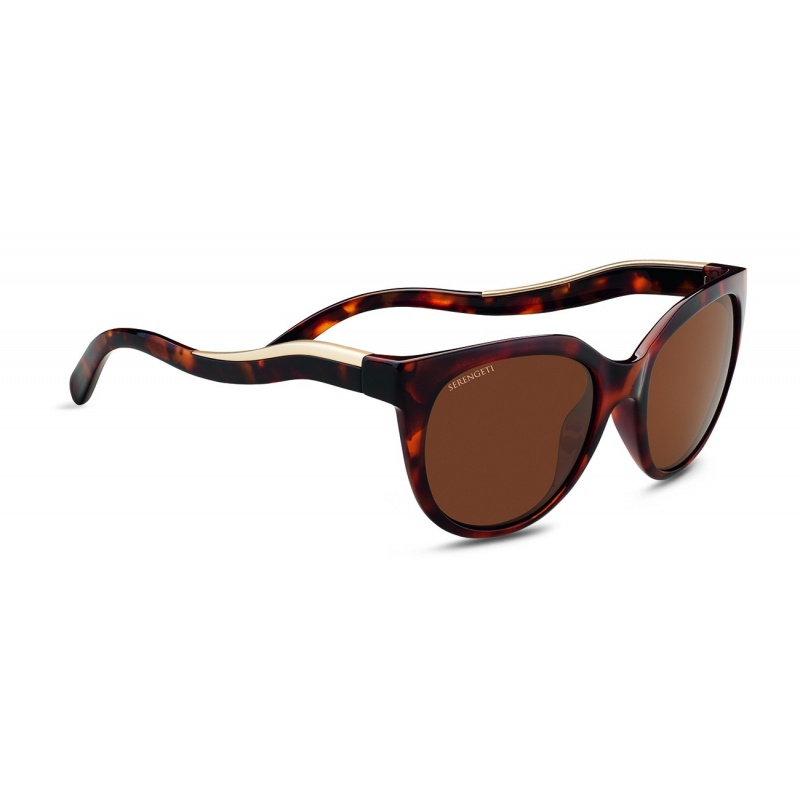 Serengeti Lia 8573 Shiny Red Moss Tortoise Satin Champagne gold Polarized Drivers