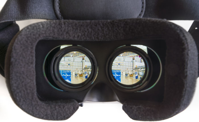 Looking through VR headset