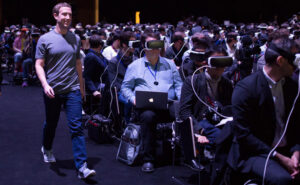 Mark Zuckerberg Mobile World Congress VR heatsets presentation