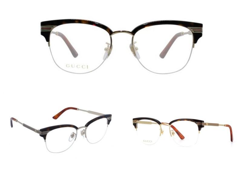 Les Lunettes Gucci 0201 sont chics et féminines, avec une monture  semi-percée en métal et un dessin rétro. Ce sont des lunettes très légères  qui donnent ... 3c7ef3c4e95b
